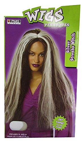 Silver Streaks Wig Adult Halloween Costume (Black Magic Man Costume)