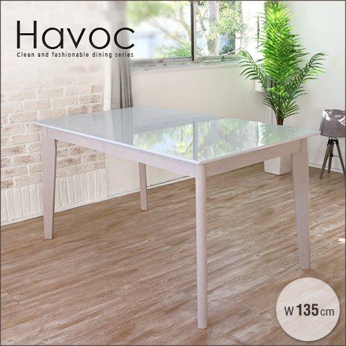 ダイニングテーブル 135 Havoc ハボック ホワイト 白 4人 4人掛け 4人用 フレンチ カントリー シャビー シャビーシック ダイニング用 食卓用 テーブル 単品 かわいい おしゃれ B078TXGKX3
