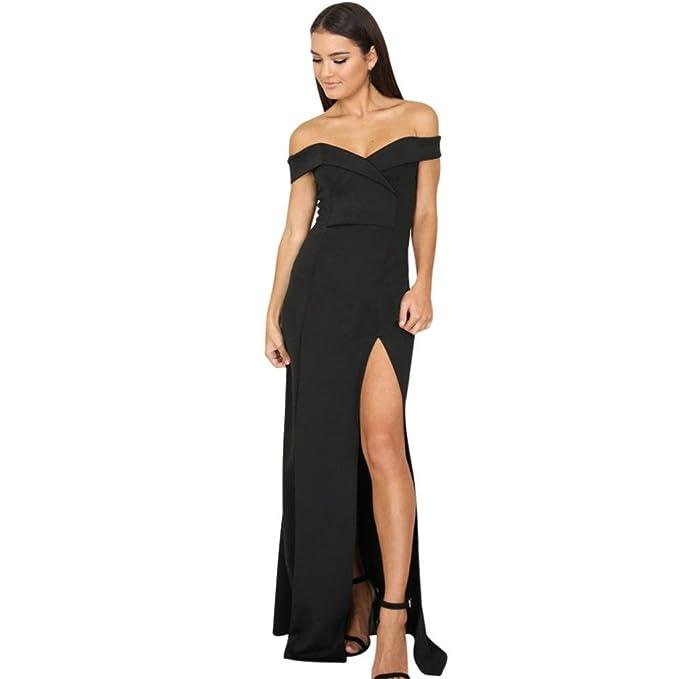 Falda Mujer BUIMIN - Vestido Sin Tirantes Puntas Abiertas Larga Mujer Sexy Sólido De Fiesta Elegante