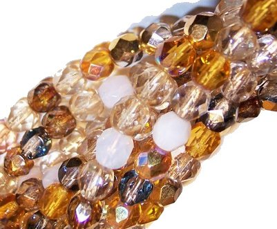 Czech Fire Polish Glass Beads 6mm RoundHoney Butter Mix Cream Amber (50)