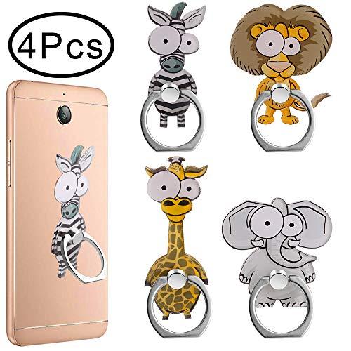 Outee 4 Pcs Cell Phone Ring Holder Cute Animal Finger Ring Grip 360 Swivel for Smartphones, Tablet (Zebra, Giraffe, Elephant, Lion)