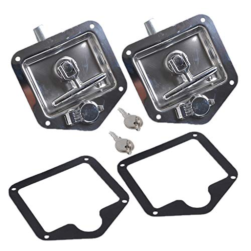 (2 Set T-handle Tool Box Lock RV Latch With Two Keys Stainless Steel Polished)