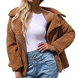 PENGYGY Women Ladies Coat Wool Artificial Hot Zipper Jacket Parka Winter Outwear Outdoor Fashion Pocket