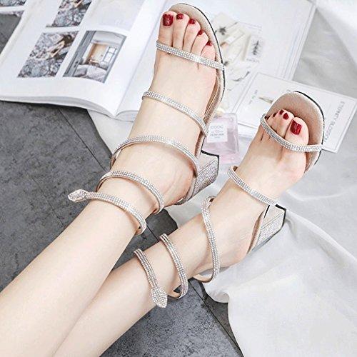 color Mujer Hy Tamaño Romano Zapatos Estilo Rhinestones Verano Desnudo Sandalias De Desnudo Sinuoso Color 34 wYqzApw