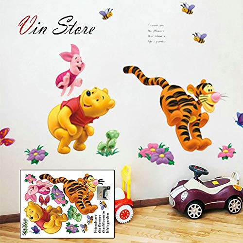 (Winnie The Pooh Decorations Nursery Bedding Room with Wall Art Decals Decor Winnie Pooh Tigger Animal Wallpaper (Style)