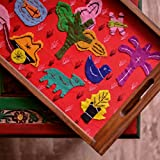 ExclusiveLane Teak Wood Applique Handwork Tray In Red -Serving Tray Platter Breakfast Tray Decorative Tray Table Top Bed Tray Tableware