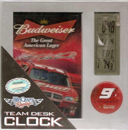 Nascar Shelf - KASEY KAHNE # 9 BUDWEISER DESK CLOCK . WINCRAFT RACING BRAND WITH OFFICIAL NASCAR SEAL.