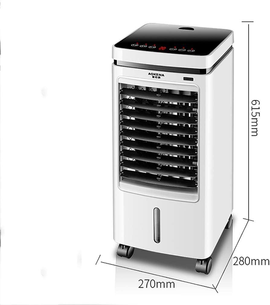 Ventilador de hielo con enfriador de aire portátil con humidificador, ventilador de aire acondicionado evaporativo de pie con control remoto, ventilador de 4 litros con doble tanque de agua para habit: Amazon.es: