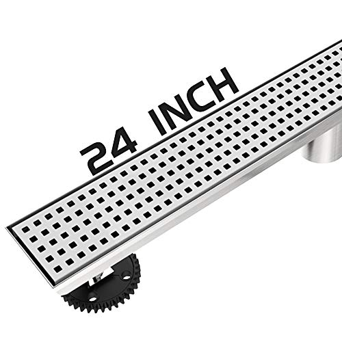 Ushower 24 Inch Linear Drain for Shower, Grate Cover Linear Floor Drain Brushed Nickel, Rectangle Shower Bathroom Drain with Adjustable Leveling Feet, Hair Strainer, Threaded Adapter ()