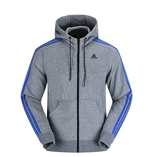 adidas Mens Hooded Sweatshirt Essential 3 Stripe Hoodie Fleece Top Grey New B20097 (XL) - Adidas 3 Stripes Fleece Hooded