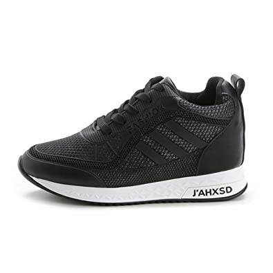 f4da421506ee GIY Women s Wedge Sneaker High Top Lightweight Casual Lace up Platform  Sports Athletic Walking Shoes Black