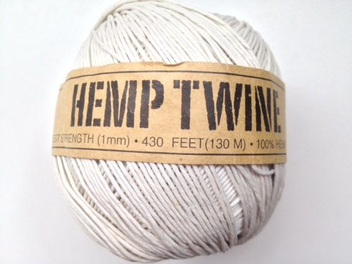 White Hemp Twine Cord 1mm 143yd 130m 430ft DIY (Mm Hemp 1)