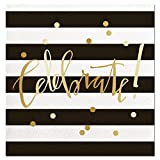 Slant Collections Black White Stripe Gold Foil ''Celebrate'' Paper Beverage Napkins 20ct