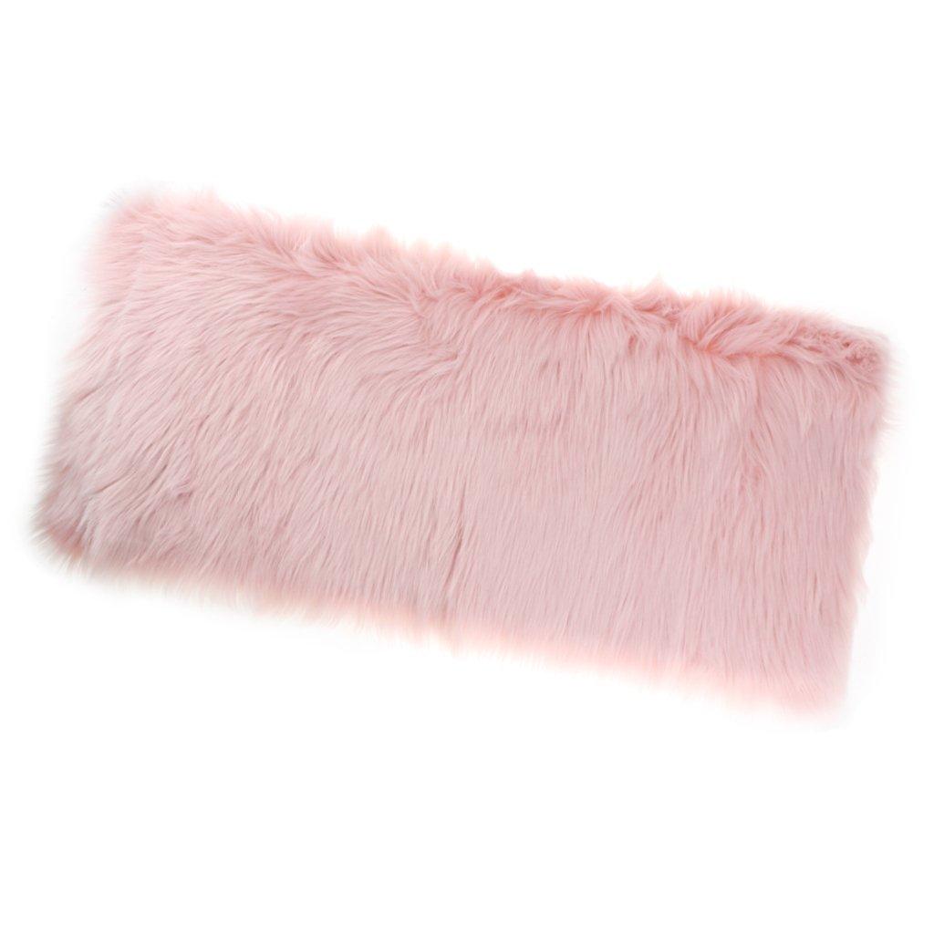 MonkeyJack Artificial Sheepskin Area Rug Shaggy Floor Carpet Super Soft Float Window Mat - Light Pink