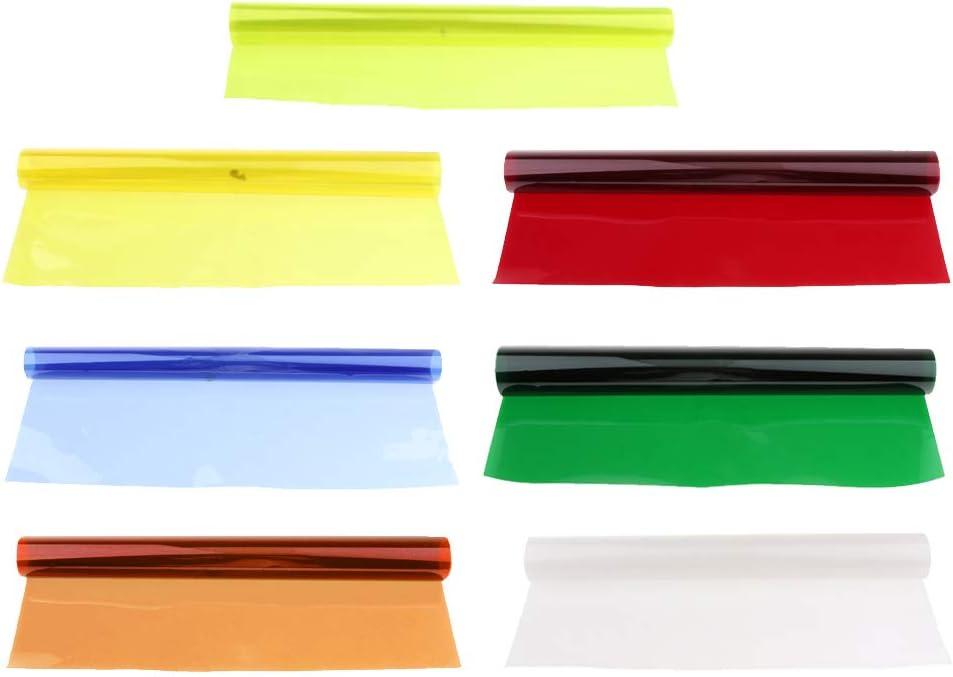 7Pieces Color Correction Gel Filter Overlays Transparency Color Film Plastic Sheets Gel Lighting Filters