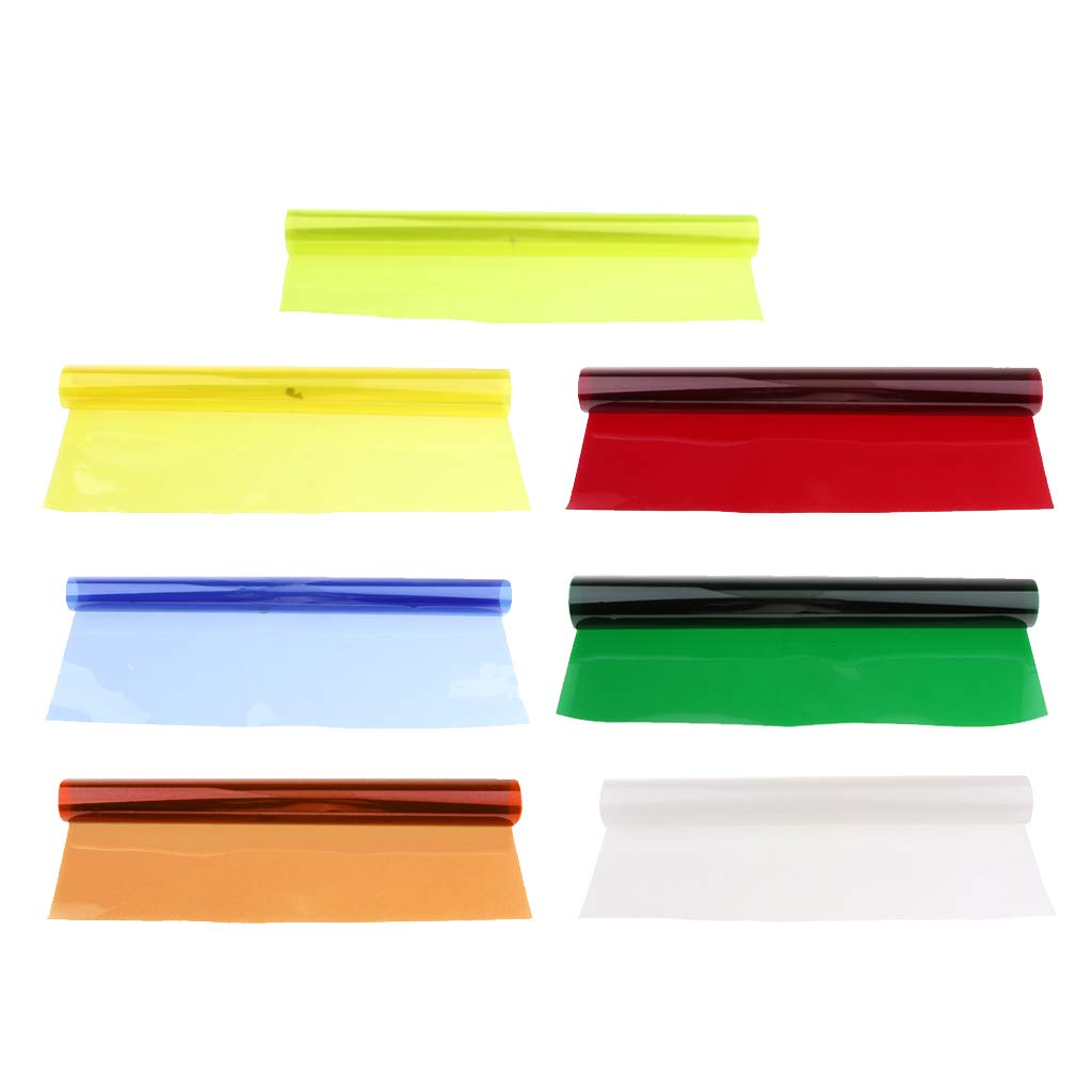 Homyl 7Pieces Color Correction Gel Filter Overlays Transparency Color Film Plastic Sheets Gel Lighting Filters