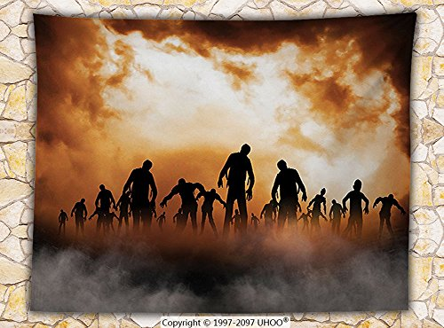 Halloween Decorations Fleece Throw Blanket Zombies Dead Men Body Walking in the Doom Mist at Dark Night Sky Haunted Decor Throw Orange Black (West Elm Halloween Decorations)