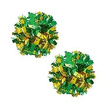 Set of 2 Plastic Ring Pom Metallic Cheerleading Poms 100g Green+Gold