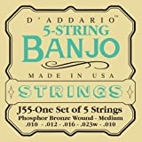 D'Addario J55 5-String Banjo Strings, Phosphor Bronze, Medium, 10-23, Best Gadgets