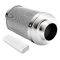 iPower - Depurador de control de olores con filtro de carbono y aire de 4 pulgadas con carbón vegetal de Australia para ventilador en línea, brida reversible, prefiltro incluido