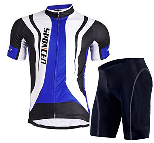 sponeed Men's Road Cycling Jersey Suits Racing Bike Jerseys Poly Lycra Size M US Blue