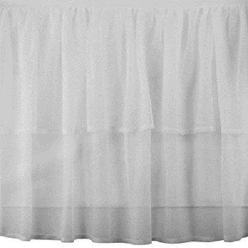 - Chiffon White 2-Layered Lined Bed Skirt Any Drop Any Size - detachable option