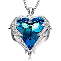 EleShow Angel Wing Heart Pendant Necklace for Women Made with Swarovski Crystals