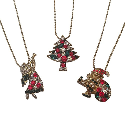 EverKid Christmas Charm Set of 3 - Santa Claus with Gift Bag, Xmas Tree, Christmas Angel with Trumpet -