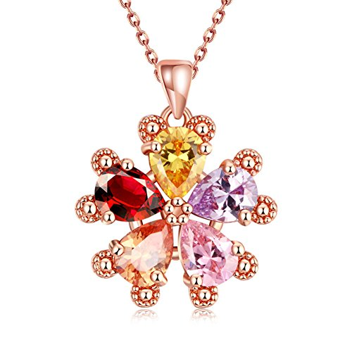 Flower Charm Drop Pendant - ISAACSONG.DESIGN Rose Gold Multi Colored Cubic Zirconia Crystal Flower Charms Pendant Necklace for Women (Lucky flower teardrop colorful stone)