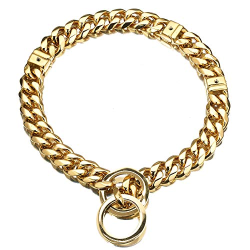all Adjustable Stianless Steel 15mm 18K Big Dog Cuban Link Collar Necklace Chain (Gold, S) ()