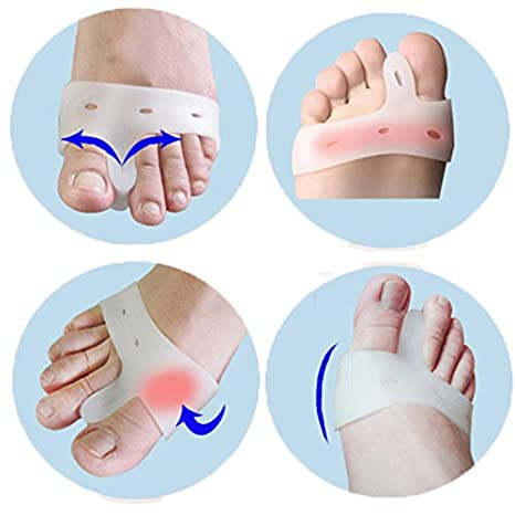 Silicone Toe Seperators - 2Pcs Soft Silicone Gel Toe Separators Straightener Bunion Protector - Soft Toe