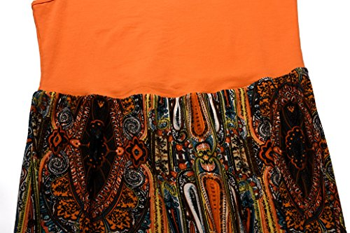 Tank Women's Orange Casual Summer Aphratti Sleeveless Bohemian Long Maxi Print Dresses dUwxpXSq