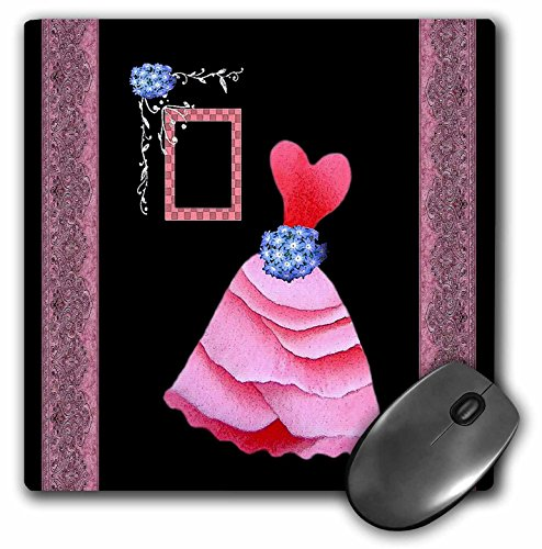 3dRose Jaclinart Dress Rose Flowers Floral Damask Ribbons - Pink frilly dress with blue flowers and mauve pink damask ribbons - MousePad (mp_30273_1)