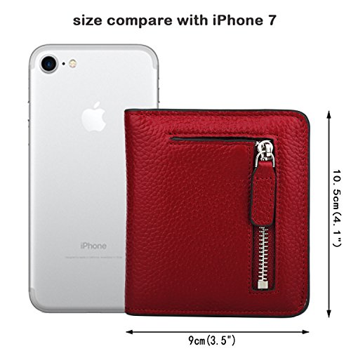 GDTK RFID Blocking Wallet Women's Small Compact Bifold Leather Purse Front Pocket Mini Wallet (Wine Red) by GDTK (Image #7)