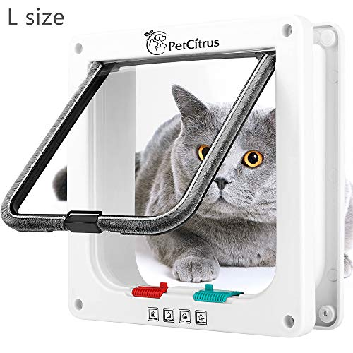 PetCitrus Cat Door - Large (Outer Size 9.2' X 9.8') 4 Way Locking...