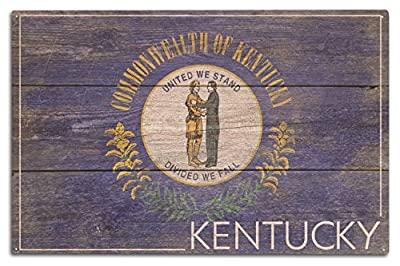Rustic Kentucky State Flag 10x15 inch Plaque Wood Sign Wall Sign, Wall Decor Ready to Hang.