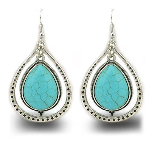 jianxi Vintage Alloy Synthetic Turquoise Necklace Fashion Jewelry Women (189) - Handmade Turquoise Earring Set