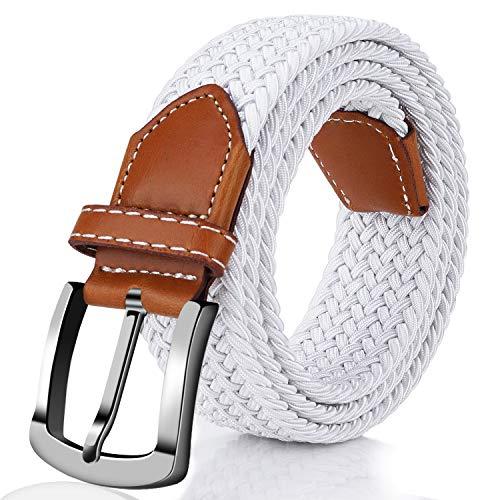 Elastic Braided Belt, Fairwin Enduring Stretch Woven Belt for Men/Women/Junior (M (for waist 32''-35''), White)