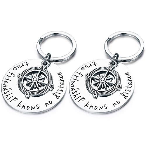 Best Friend Keychains (LSL BFF Keychain Set- 2 PCS Compass Best Friend Keychians True Friendship Knows No Distance Birthday Graduation)