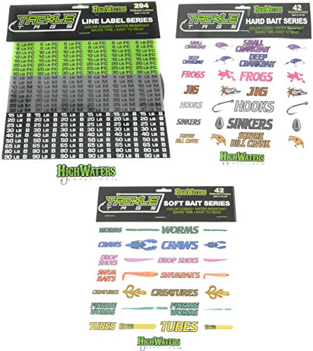 HighWaters Creations Tackle Tags, Fishing Line Labels, Hard Bait Labels, Soft Bait Labels for Worms, Crankbait, Jibs, Hooks, Tubes, Swimbaits, Craws, Frogs, Sinkers, Drop Shot (Combo Pack) (Tackle Buzzbait Bait)