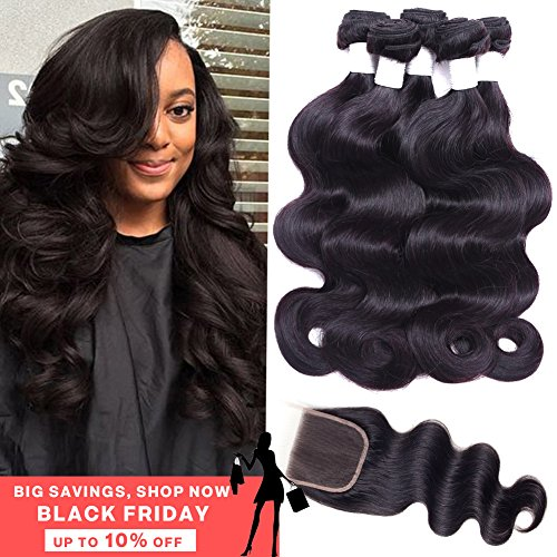 Flady Hair Brazilian Body Wave Human Hair 3 Bundles with Closure 7a Unprocessed Virgin Hair Bundle Deals with Closure Free Part Natural Black Color (16 18 20+14inch free part closure) by Flady