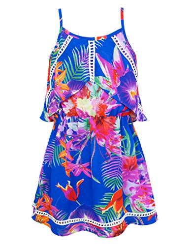 Truly Me, Toddler Girls' Tropical Floral Print Sleeveless Designer Dress with Ruffle Detail, Lacttice Trim Embellishments, and Spaghetti Straps, Size 2T-4T (Blue Tropical, 2T) ()