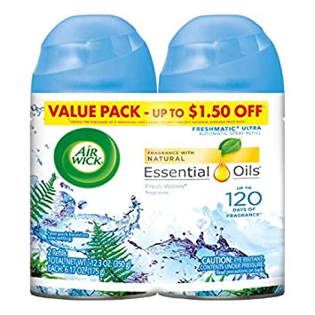 Air Wick Pure Freshmatic 2 Refills Automatic Spray, Fresh Waters, (2x5 89  oz), Air Freshener, Essential