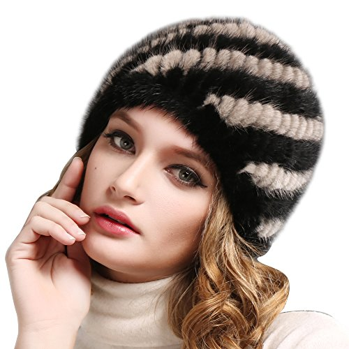 Real Mink Fur Winter Hat For Women Girls Warm Knit Beanie Hats Cap FURTALK Orginal (Black Grey Single Layer)