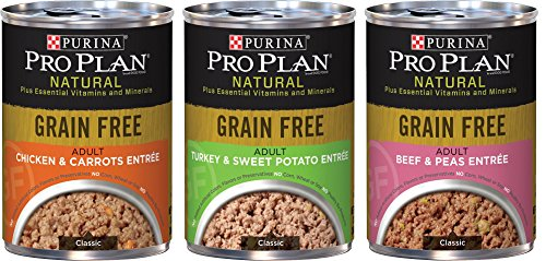 Purina Pro Plan Natural Grain Free Wet Adult Dog Food Variety Pack, 3 Flavors, 13-Ounces Each (6 Pack) - Pro Plan Canned Food