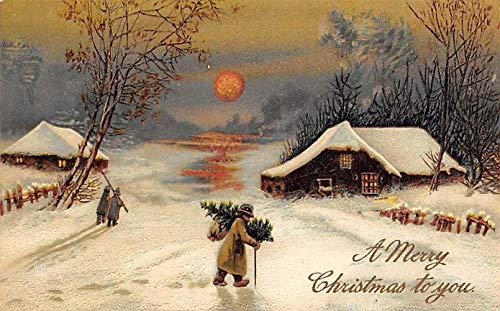 Christmas Postcard Antique Xmas Postcard Series 9001 PFB Publishing Writing on back