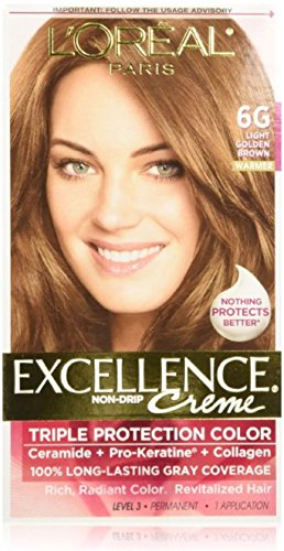 L'Oreal Paris Excellence Creme Triple Protection Hair Color -Light Golden Brown [6G] Pack of (Loreal Excellence Creme Triple Protection)
