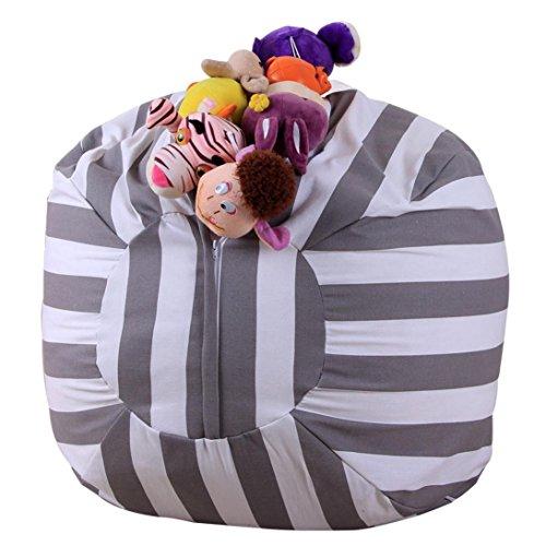 Price comparison product image Fashion Egmy Kids Stuffed Animal Plush Toy Storage Bean Bag Soft Pouch Stripe Fabric Chair (A)