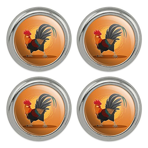Rooster of Awesomeness Chicken Metal Craft Sewing Novelty Buttons - Set of ()