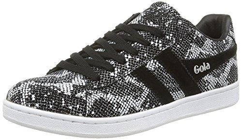 Gola Women's Equipe Reptile Fashion Sneaker, Black/White, 8 M US